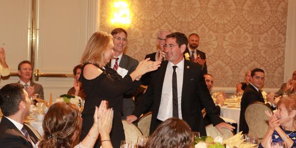 Nina Marino Congratulating Richard Kaplan