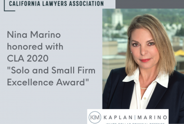 Nina Marino honored with the California Lawyers Association 2020 Solo and Small Firms Excellence Award